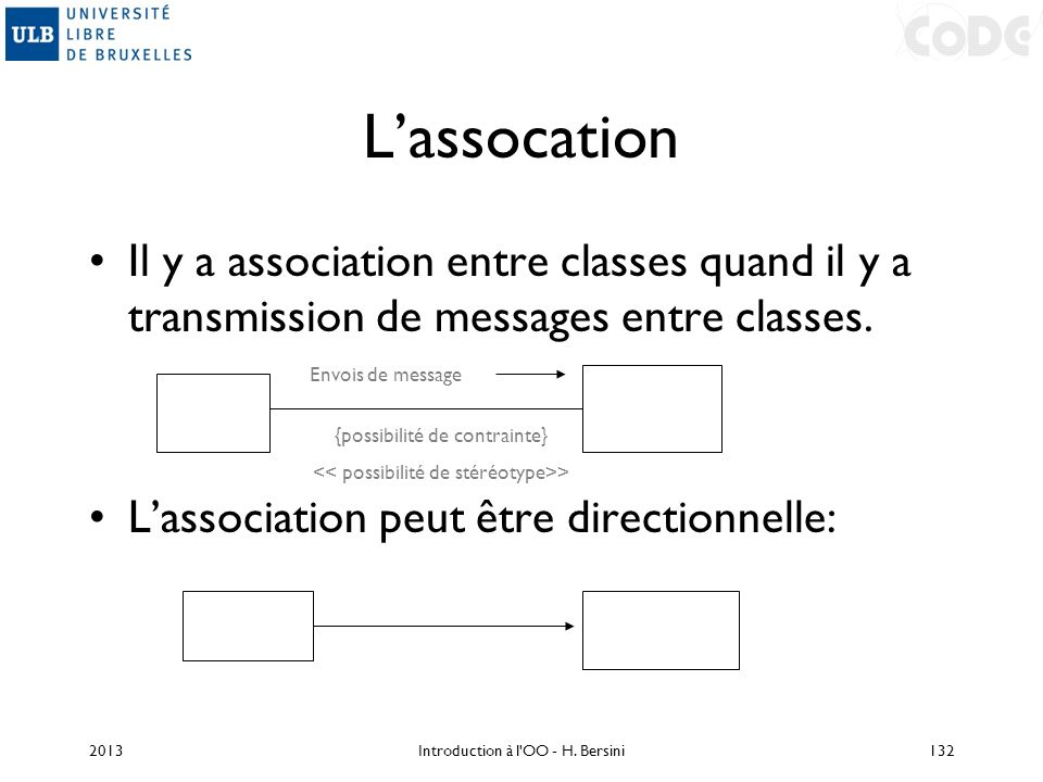 Lassocation Il y a association entre classes quand il y a transmission de messages entre classes. Lassociation peut être directionnelle: {possibilité