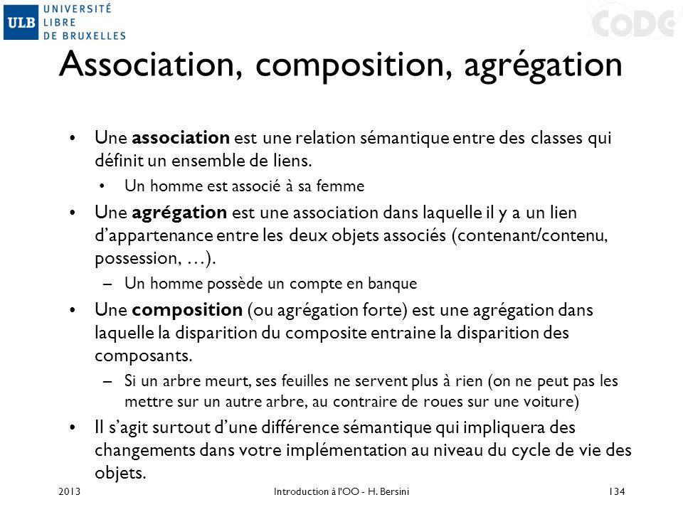 Association, composition, agrégation Une association est une relation sémantique entre des classes qui définit un ensemble de liens. Un homme est asso