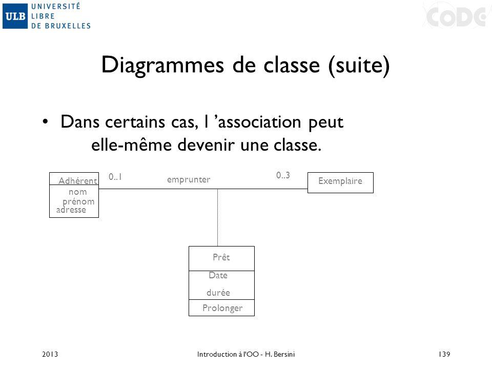 Diagrammes de classe (suite) Dans certains cas, l association peut elle-même devenir une classe. Adhérent Exemplaire emprunter Prêt Date durée Prolong