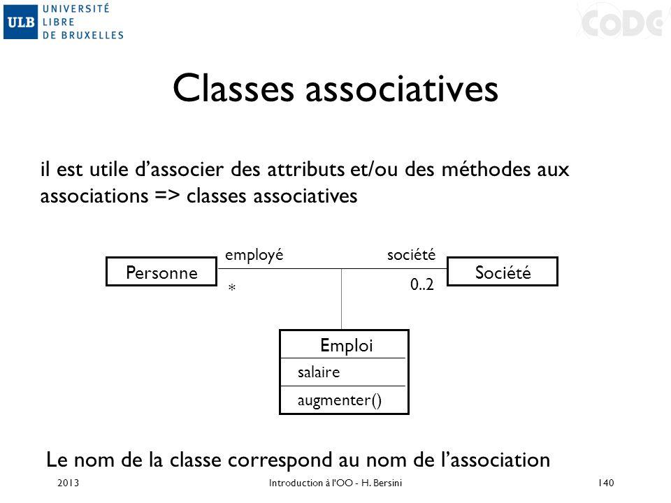 Classes associatives PersonneSociété employé * 0..2 il est utile dassocier des attributs et/ou des méthodes aux associations => classes associatives E