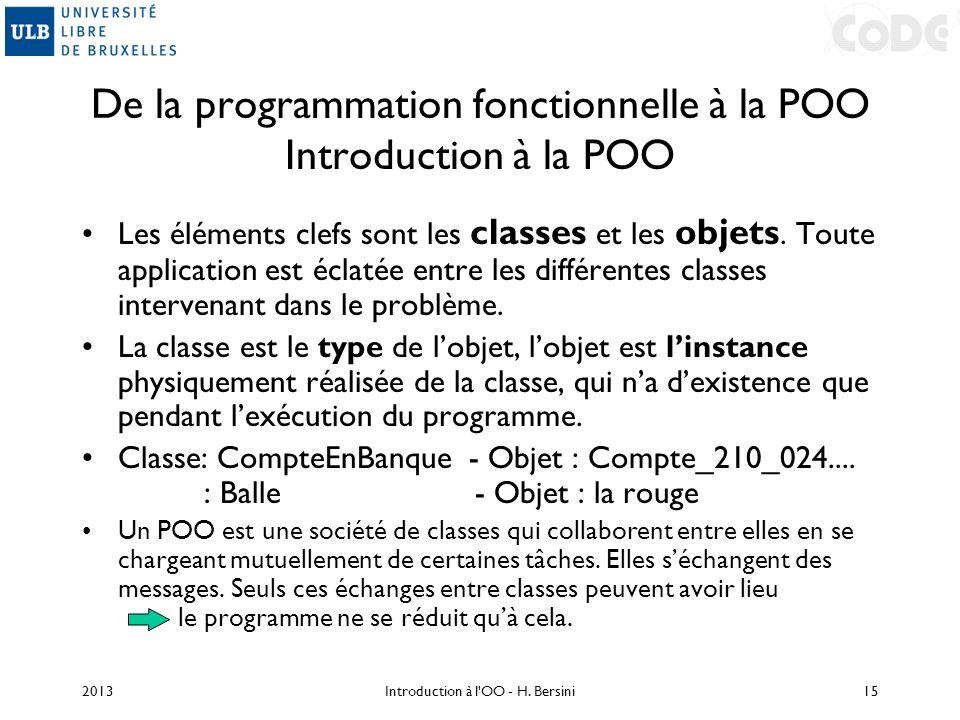 De la programmation fonctionnelle à la POO Introduction à la POO Les éléments clefs sont les classes et les objets. Toute application est éclatée entr
