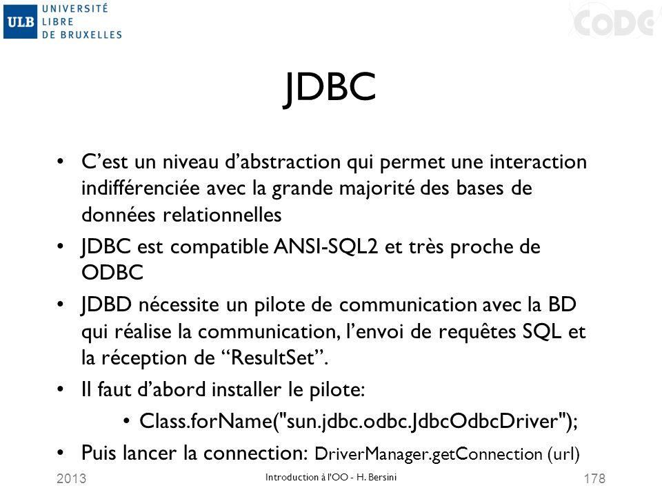 2013178 JDBC Cest un niveau dabstraction qui permet une interaction indifférenciée avec la grande majorité des bases de données relationnelles JDBC es