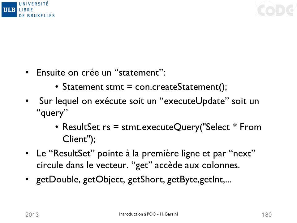 2013180 Ensuite on crée un statement: Statement stmt = con.createStatement(); Sur lequel on exécute soit un executeUpdate soit un query ResultSet rs =