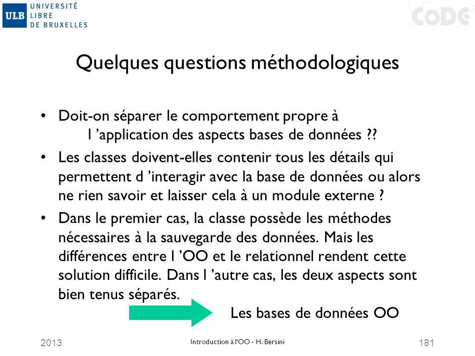 2013181 Quelques questions méthodologiques Doit-on séparer le comportement propre à l application des aspects bases de données ?? Les classes doivent-