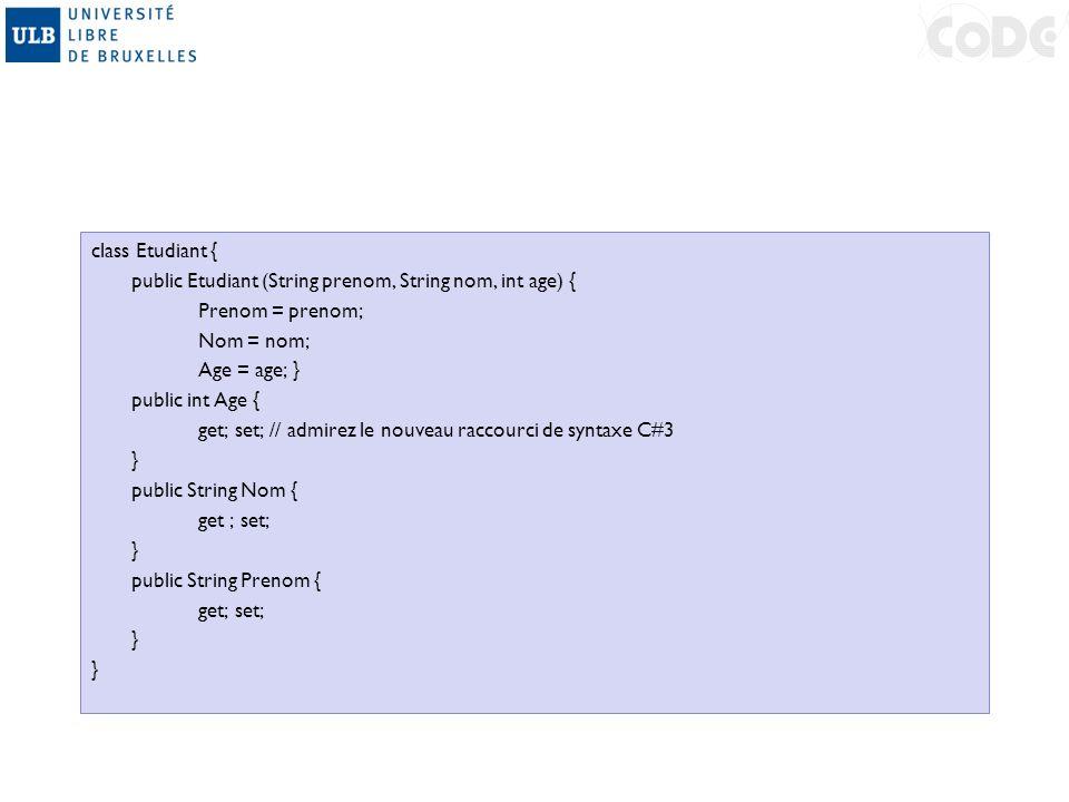 class Etudiant { public Etudiant (String prenom, String nom, int age) { Prenom = prenom; Nom = nom; Age = age; } public int Age { get; set; // admirez