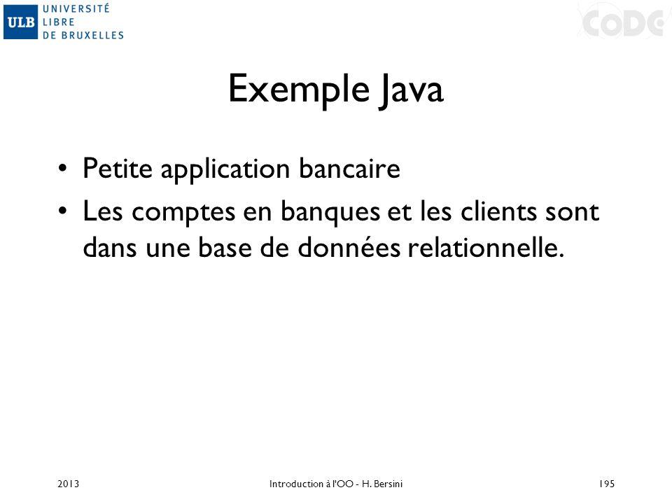 Exemple Java Petite application bancaire Les comptes en banques et les clients sont dans une base de données relationnelle. 2013Introduction à l'OO -