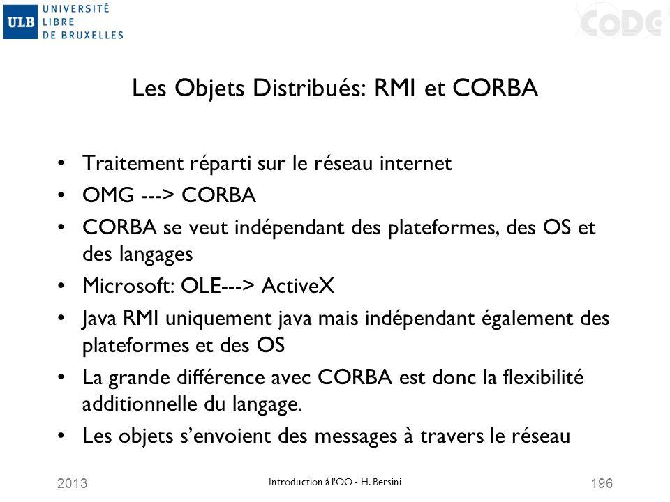 2013196 Les Objets Distribués: RMI et CORBA Traitement réparti sur le réseau internet OMG ---> CORBA CORBA se veut indépendant des plateformes, des OS