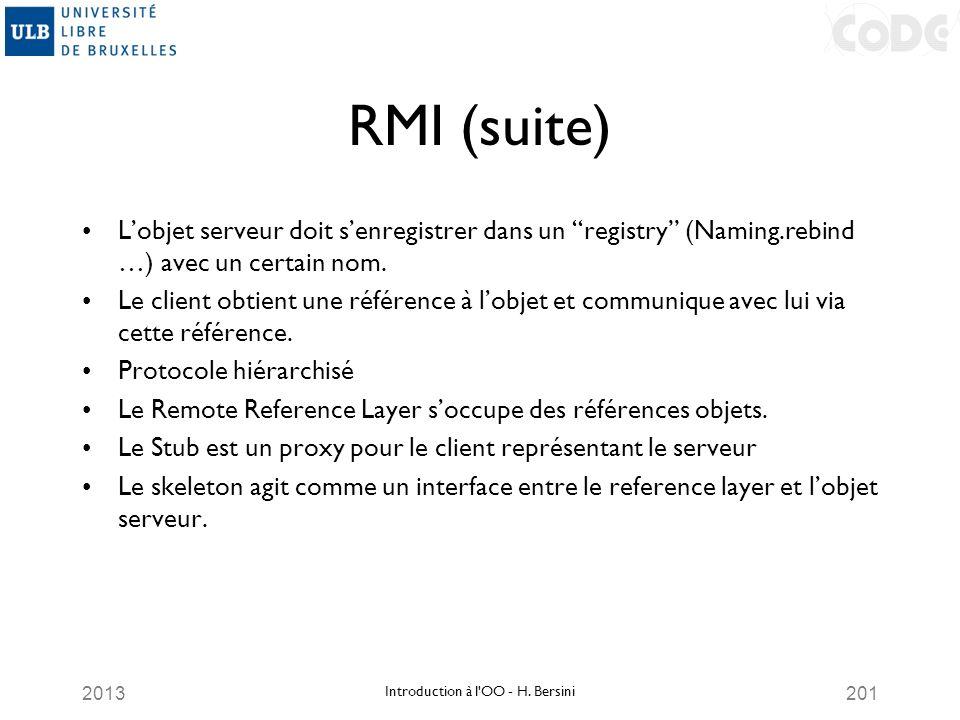 2013201 RMI (suite) Lobjet serveur doit senregistrer dans un registry (Naming.rebind …) avec un certain nom. Le client obtient une référence à lobjet