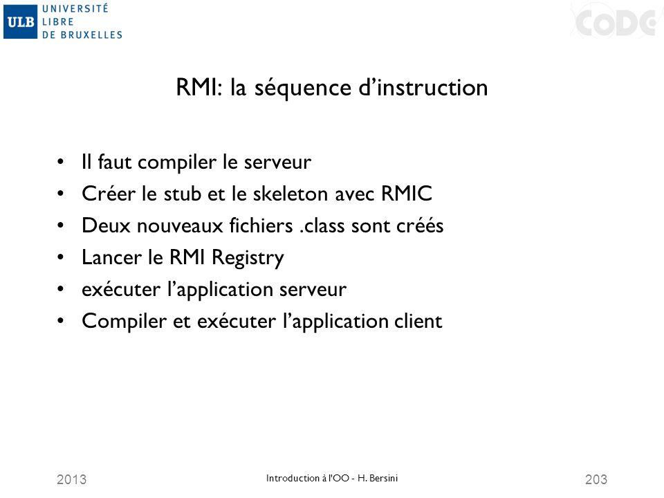 2013203 RMI: la séquence dinstruction Il faut compiler le serveur Créer le stub et le skeleton avec RMIC Deux nouveaux fichiers.class sont créés Lance