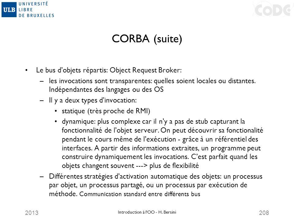 2013208 CORBA (suite) Le bus dobjets répartis: Object Request Broker: –les invocations sont transparentes: quelles soient locales ou distantes. Indépe