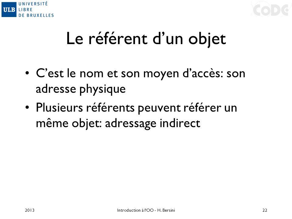 Le référent dun objet Cest le nom et son moyen daccès: son adresse physique Plusieurs référents peuvent référer un même objet: adressage indirect 2013