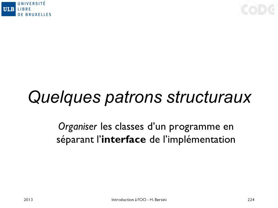 Quelques patrons structuraux Organiser les classes dun programme en séparant linterface de limplémentation 2013224Introduction à l'OO - H. Bersini
