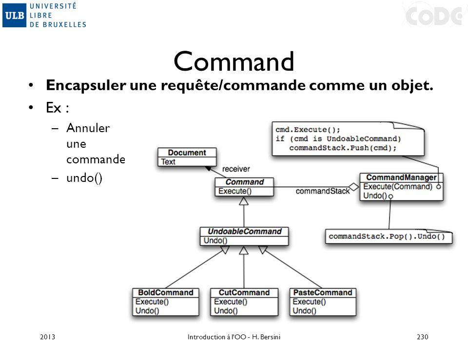 Command Encapsuler une requête/commande comme un objet. Ex : –Annuler une commande –undo() 2013230Introduction à l'OO - H. Bersini