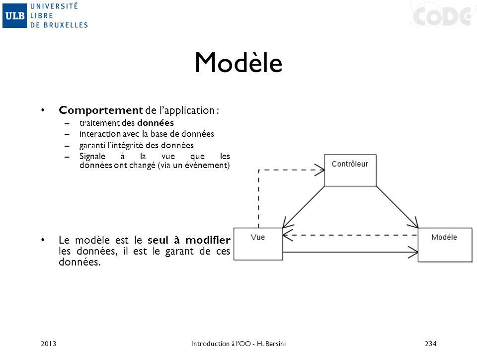 Modèle Comportement de lapplication : –traitement des données –interaction avec la base de données –garanti lintégrité des données –Signale à la vue q