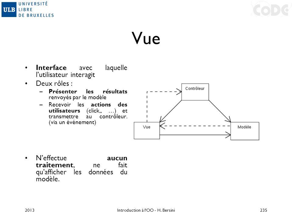 Vue Interface avec laquelle lutilisateur interagit Deux rôles : –Présenter les résultats renvoyés par le modèle –Recevoir les actions des utilisateurs