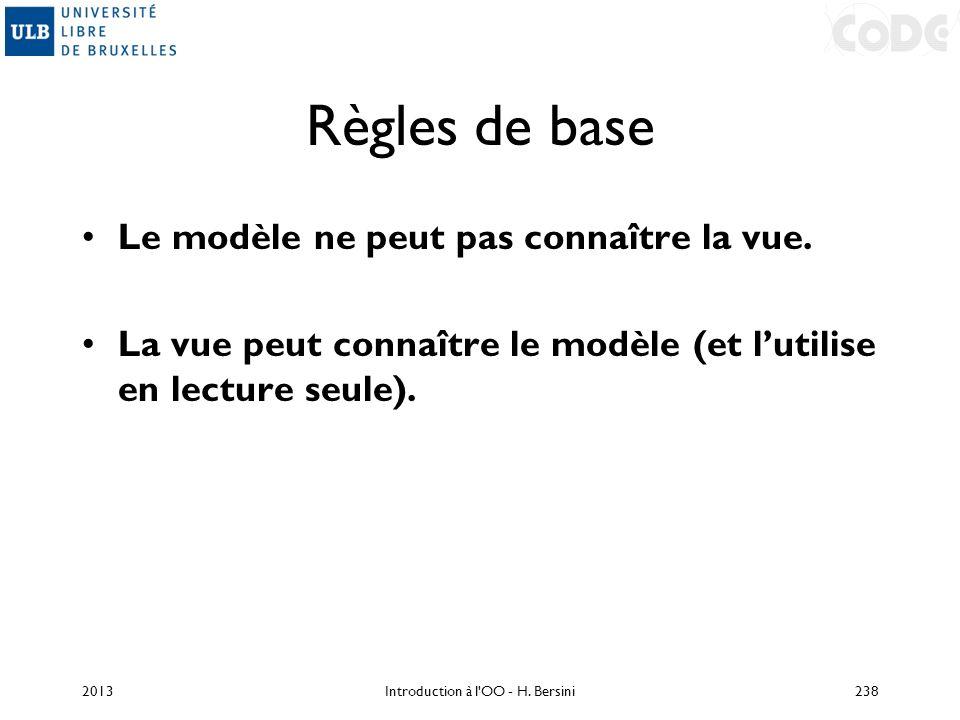 Règles de base Le modèle ne peut pas connaître la vue. La vue peut connaître le modèle (et lutilise en lecture seule). 2013Introduction à l'OO - H. Be