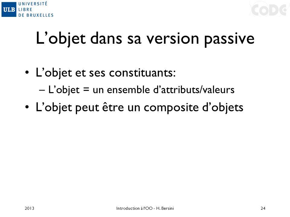 Lobjet dans sa version passive Lobjet et ses constituants: –Lobjet = un ensemble dattributs/valeurs Lobjet peut être un composite dobjets 2013Introduc