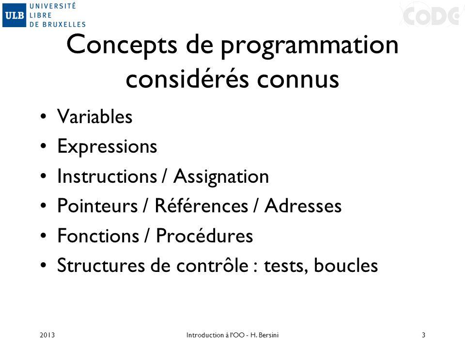 Concepts de programmation considérés connus Variables Expressions Instructions / Assignation Pointeurs / Références / Adresses Fonctions / Procédures