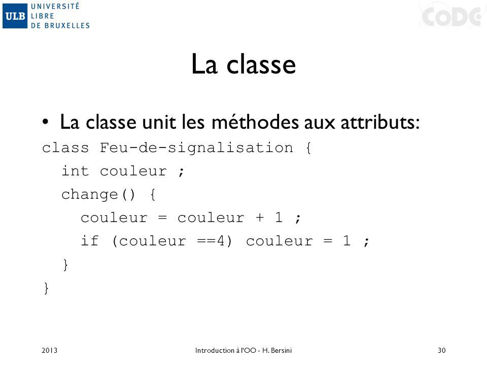 La classe La classe unit les méthodes aux attributs: class Feu-de-signalisation { int couleur ; change() { couleur = couleur + 1 ; if (couleur ==4) co