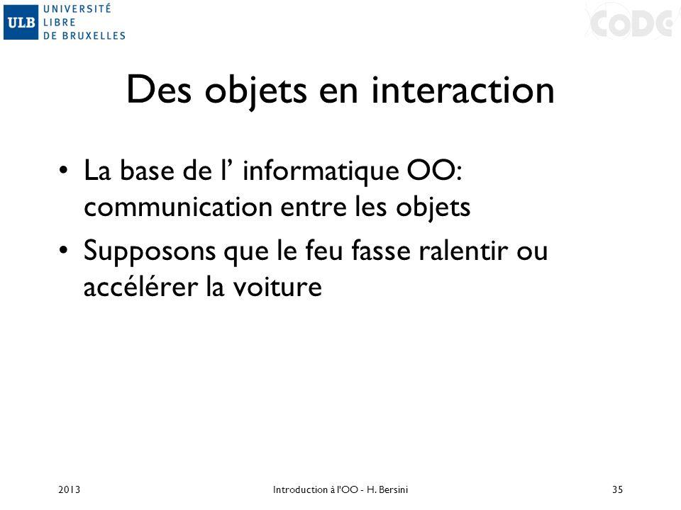 Des objets en interaction La base de l informatique OO: communication entre les objets Supposons que le feu fasse ralentir ou accélérer la voiture 201