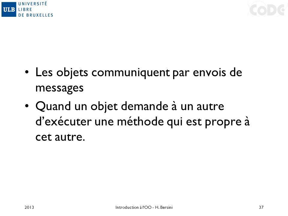 Les objets communiquent par envois de messages Quand un objet demande à un autre dexécuter une méthode qui est propre à cet autre. 2013Introduction à