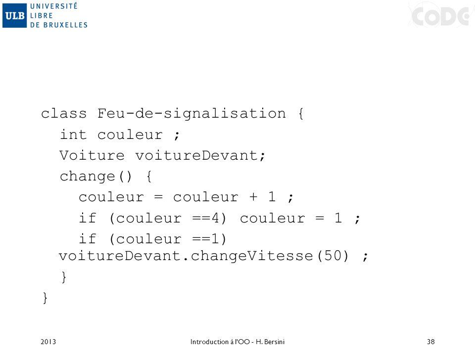 class Feu-de-signalisation { int couleur ; Voiture voitureDevant; change() { couleur = couleur + 1 ; if (couleur ==4) couleur = 1 ; if (couleur ==1) v