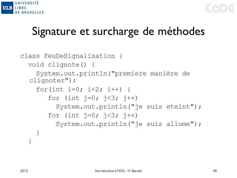 Signature et surcharge de méthodes class FeuDeSignalisation { void clignote() { System.out.println(