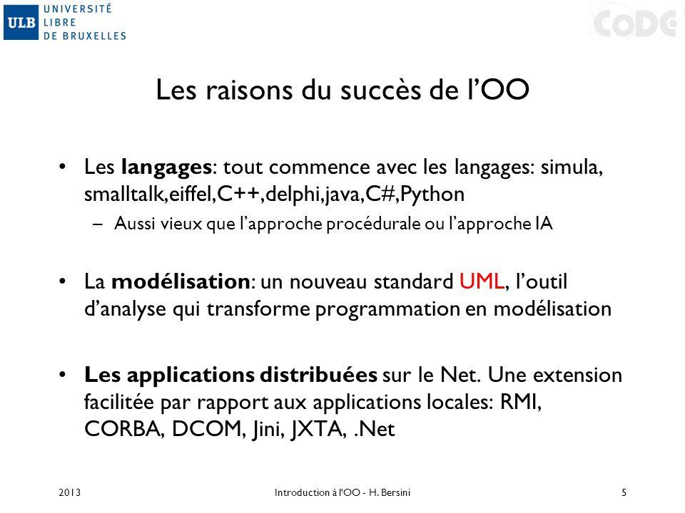 Les raisons du succès de lOO Les langages: tout commence avec les langages: simula, smalltalk,eiffel,C++,delphi,java,C#,Python –Aussi vieux que lappro