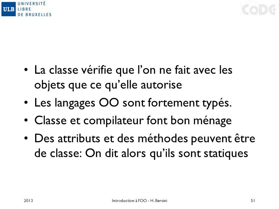 La classe vérifie que lon ne fait avec les objets que ce quelle autorise Les langages OO sont fortement typés. Classe et compilateur font bon ménage D