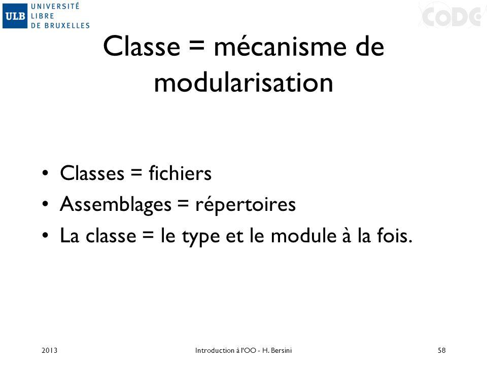 Classe = mécanisme de modularisation Classes = fichiers Assemblages = répertoires La classe = le type et le module à la fois. 2013Introduction à l'OO