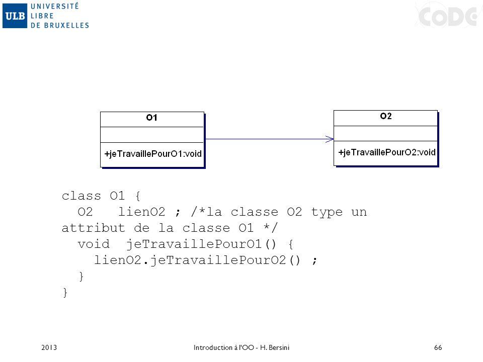 class O1 { O2 lienO2 ; /*la classe O2 type un attribut de la classe O1 */ void jeTravaillePourO1() { lienO2.jeTravaillePourO2() ; } 2013Introduction à