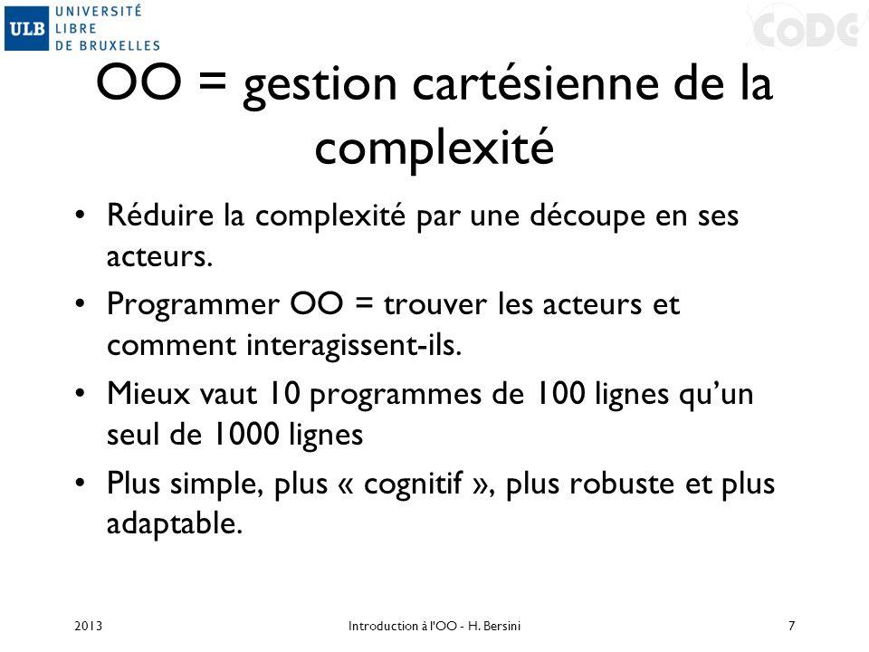 OO = gestion cartésienne de la complexité Réduire la complexité par une découpe en ses acteurs. Programmer OO = trouver les acteurs et comment interag
