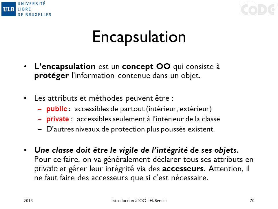 Encapsulation Lencapsulation est un concept OO qui consiste à protéger linformation contenue dans un objet. Les attributs et méthodes peuvent être : –