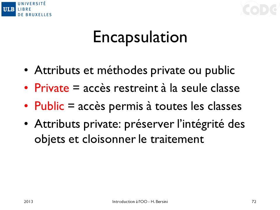 Encapsulation Attributs et méthodes private ou public Private = accès restreint à la seule classe Public = accès permis à toutes les classes Attributs
