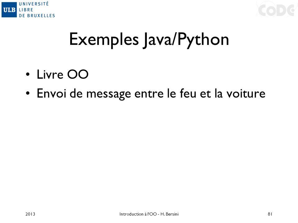 Exemples Java/Python Livre OO Envoi de message entre le feu et la voiture 2013Introduction à l'OO - H. Bersini81
