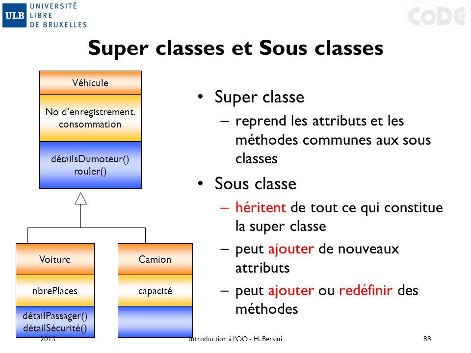 Super classe –reprend les attributs et les méthodes communes aux sous classes Sous classe –héritent de tout ce qui constitue la super classe –peut ajo