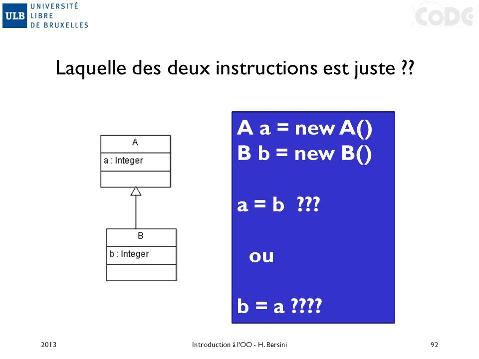 Laquelle des deux instructions est juste ?? 2013Introduction à l'OO - H. Bersini92 A a = new A() B b = new B() a = b ??? ou b = a ????