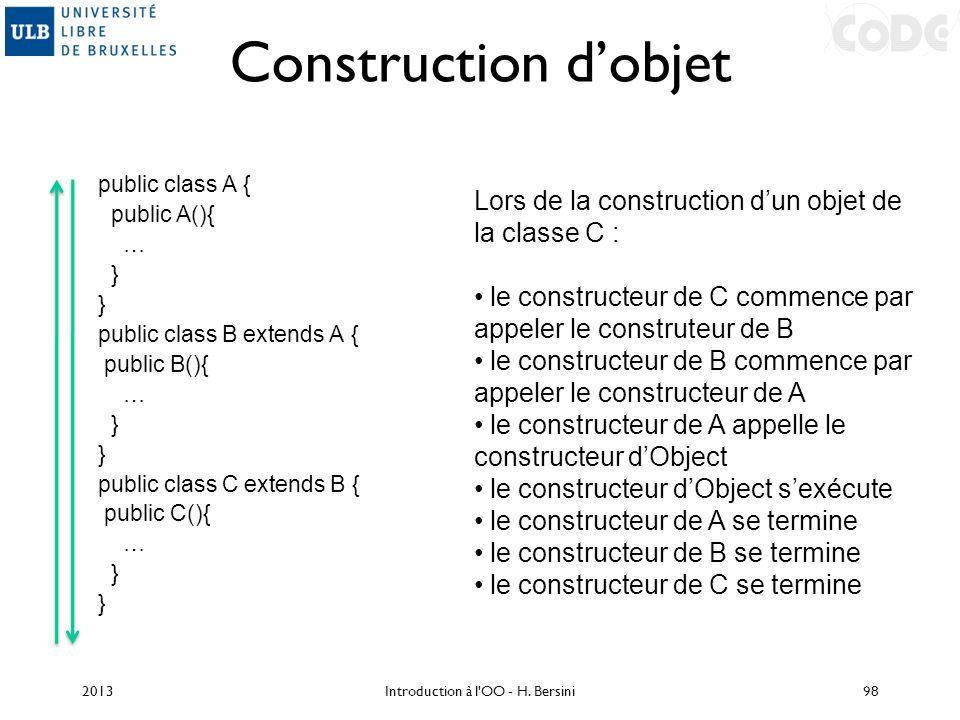 Construction dobjet public class A { public A(){ … } public class B extends A { public B(){ … } public class C extends B { public C(){ … } Lors de la