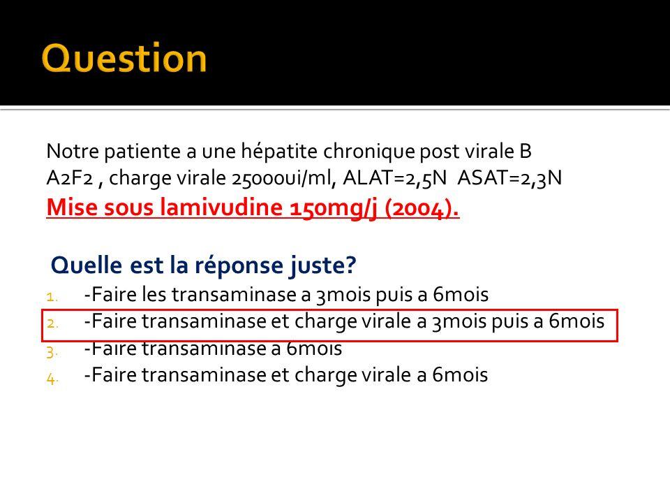 Notre patiente a une hépatite chronique post virale B A2F2, charge virale 25000ui/ml, ALAT=2,5N ASAT=2,3N Mise sous lamivudine 150mg/j (2004). Quelle