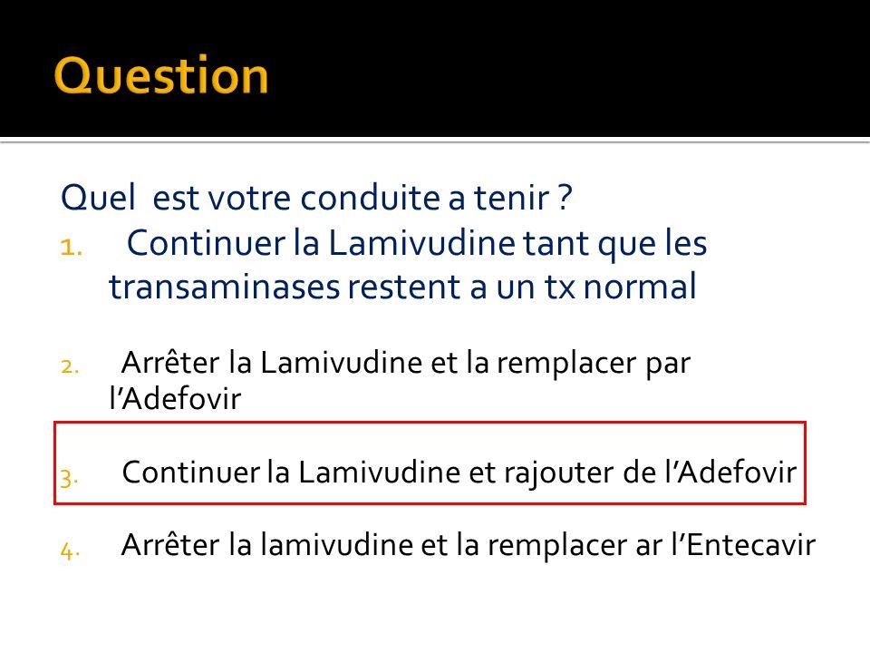 Quel est votre conduite a tenir ? 1. Continuer la Lamivudine tant que les transaminases restent a un tx normal 2. Arrêter la Lamivudine et la remplace
