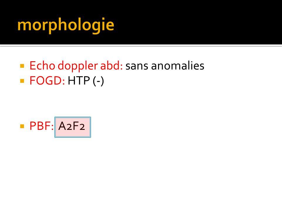 Echo doppler abd: sans anomalies FOGD: HTP (-) PBF: A2F2
