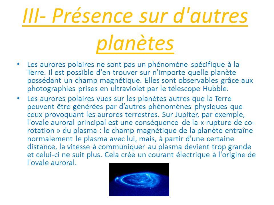 III- Présence sur d'autres planètes Les aurores polaires ne sont pas un phénomène spécifique à la Terre. Il est possible d'en trouver sur n'importe qu