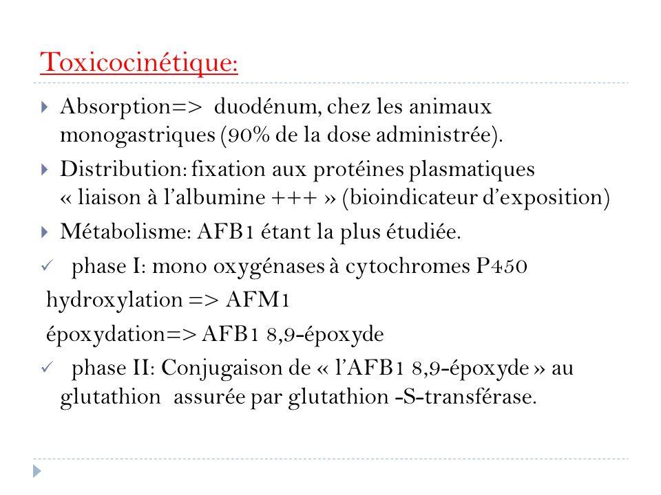 Toxicocinétique: Absorption=> duodénum, chez les animaux monogastriques (90% de la dose administrée). Distribution: fixation aux protéines plasmatique