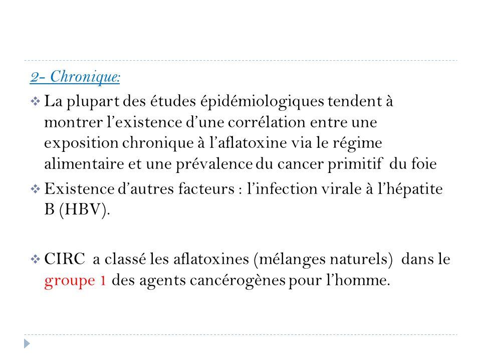 2- Chronique: La plupart des études épidémiologiques tendent à montrer lexistence dune corrélation entre une exposition chronique à laflatoxine via le
