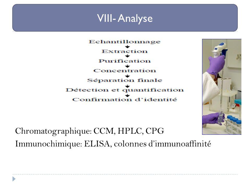Chromatographique: CCM, HPLC, CPG Immunochimique: ELISA, colonnes dimmunoaffinité VIII- Analyse