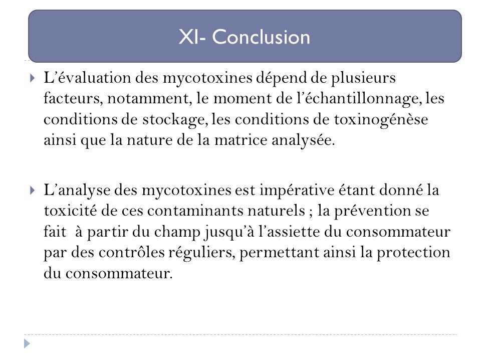 Lévaluation des mycotoxines dépend de plusieurs facteurs, notamment, le moment de léchantillonnage, les conditions de stockage, les conditions de toxi