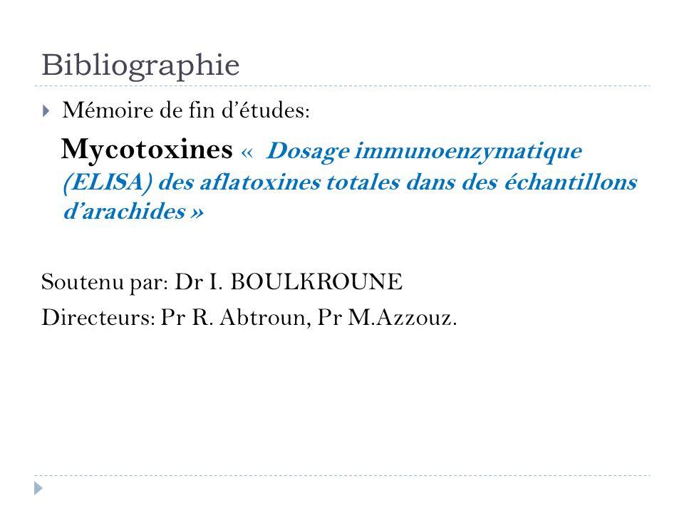 Bibliographie Mémoire de fin détudes: Mycotoxines « Dosage immunoenzymatique (ELISA) des aflatoxines totales dans des échantillons darachides » Souten