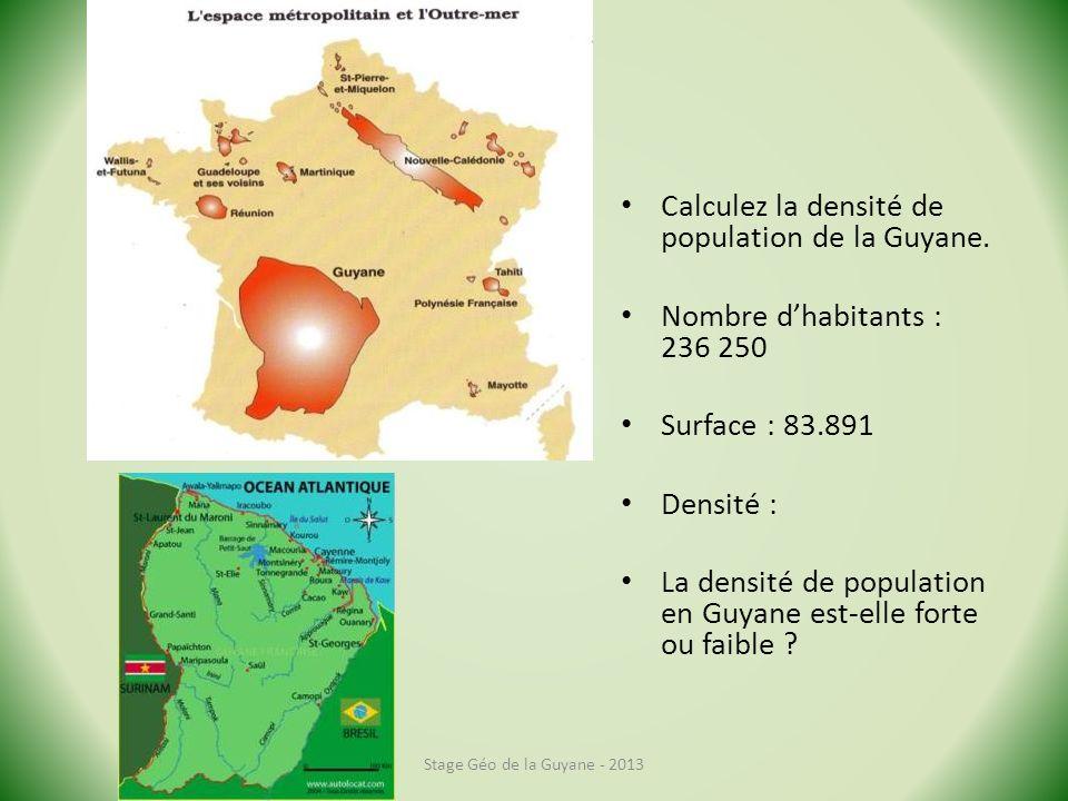 Calculez la densité de population de la Guyane.