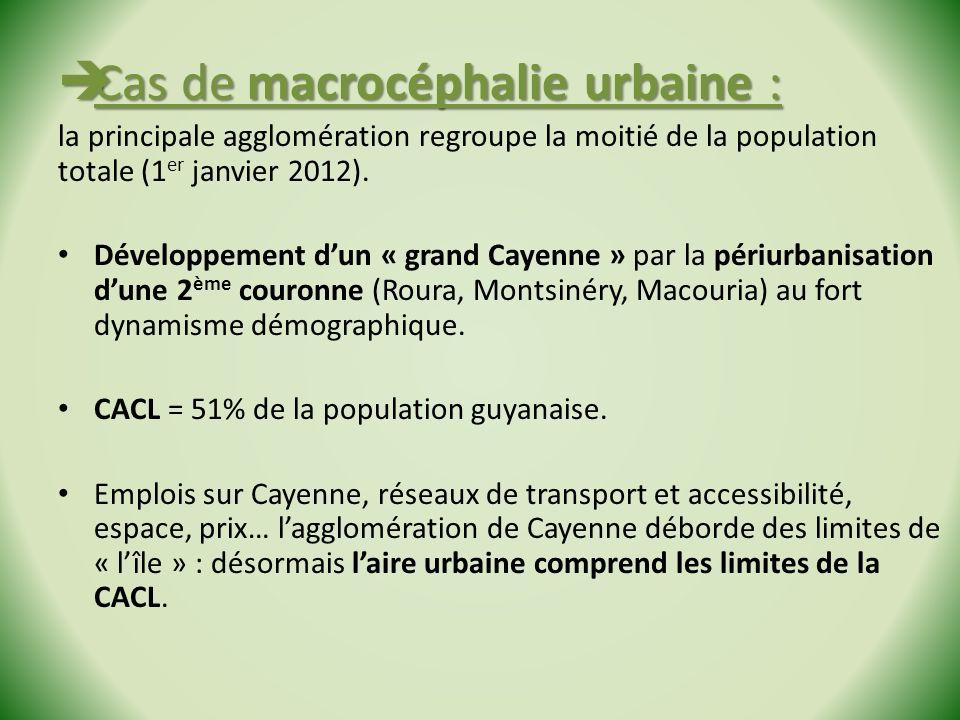Cas de macrocéphalie urbaine : Cas de macrocéphalie urbaine : la principale agglomération regroupe la moitié de la population totale (1 er janvier 2012).