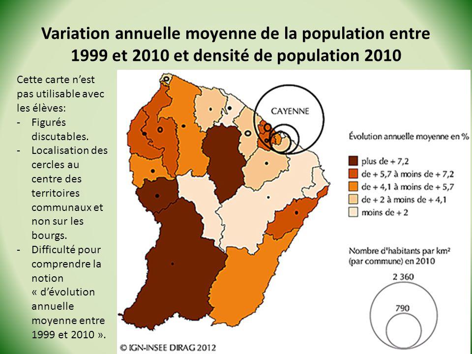 Variation annuelle moyenne de la population entre 1999 et 2010 et densité de population 2010 Stage Géo de la Guyane - 2013 Cette carte nest pas utilisable avec les élèves: -Figurés discutables.